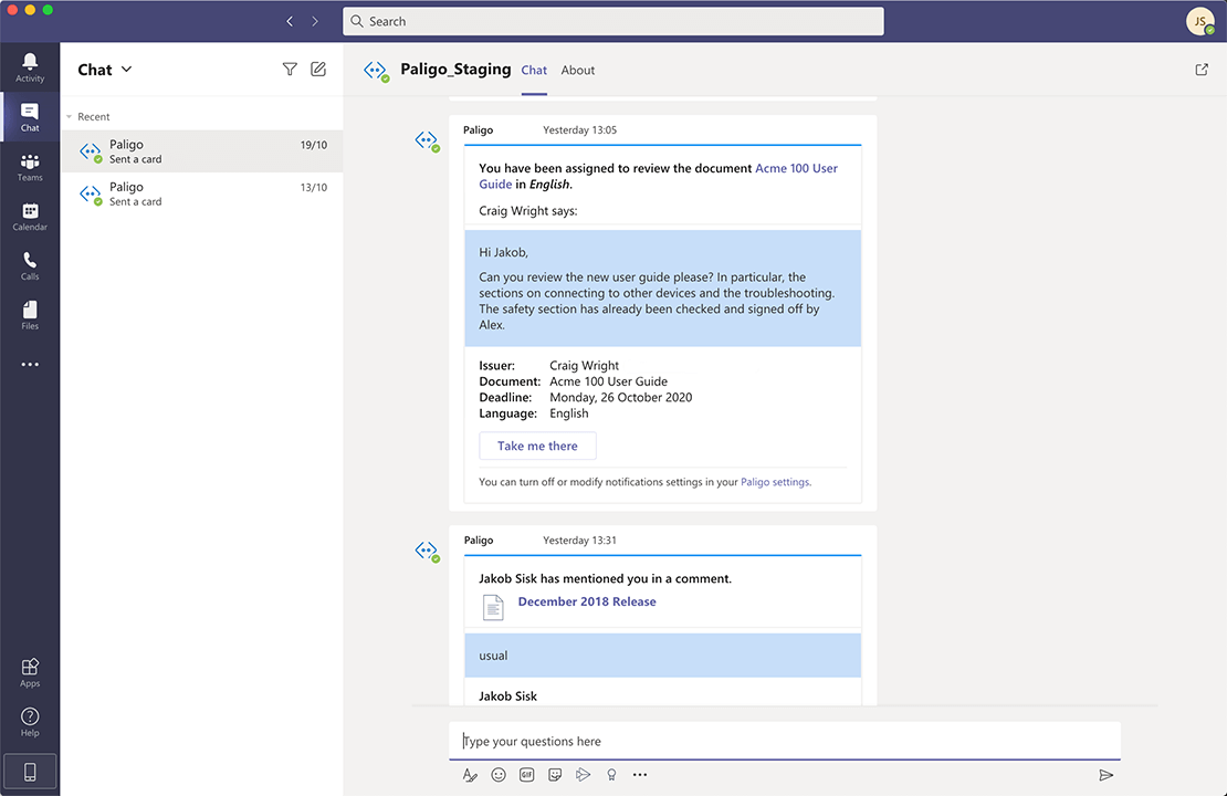 Microsoft Teams personal notifications